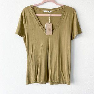 Project Social T Linen V-Neck Short Sleeve Tee